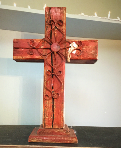 Large Rustic burgundy wooden cross - Blessed and Beautiful Boutique