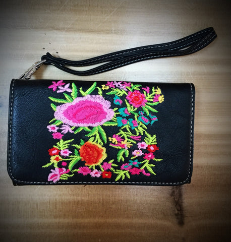 Embroidered Flower Black Phone Wallet - Blessed and Beautiful Boutique