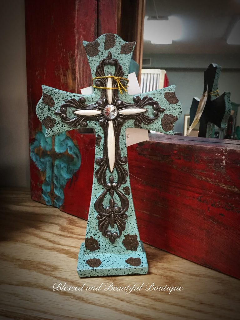 Turquoise Standing Cross - Blessed and Beautiful Boutique