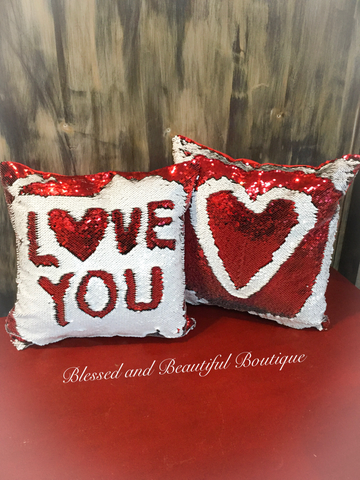 Sequin Mermaid Pillow Red and White Reversible Sequin Pillow
