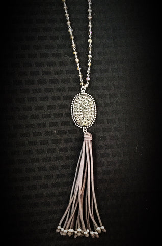 Inspired silver/grey crystals - necklace w/ tassel - Blessed and Beautiful Boutique