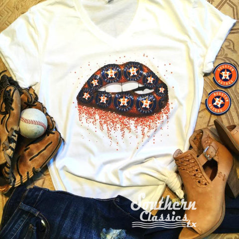 Houston Astros Lip Tee - Blessed and Beautiful Boutique