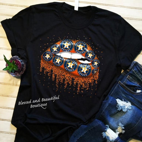 Houston Astros Lip Shirt on black tee - Blessed and Beautiful Boutique