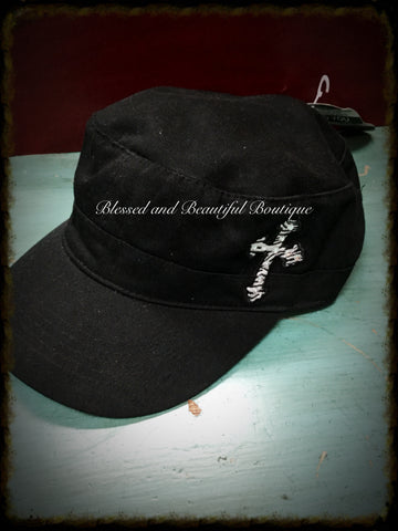 Black Cap with Cross and Rhinestone Detail - Blessed and Beautiful Boutique
