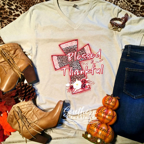 Blessed and Thankful Leopard Cross Tee - Blessed and Beautiful Boutique