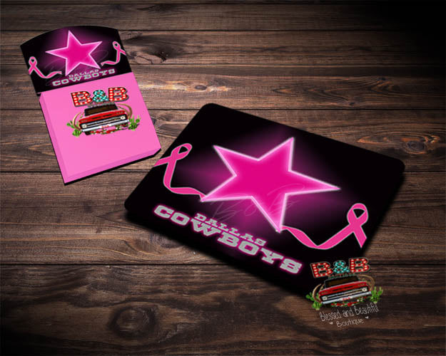 Breast Cancer Awareness Mouse Pad / Note Pad - Dallas Cowboys - Blessed and Beautiful Boutique