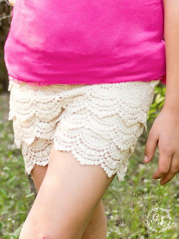 Girls Scallop Crochet Lace Shorts - Cream - Blessed and Beautiful Boutique