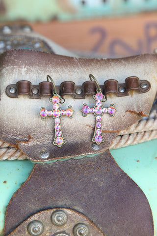 Pink Panache Bronze cross earrings with AB crystals. - Blessed and Beautiful Boutique