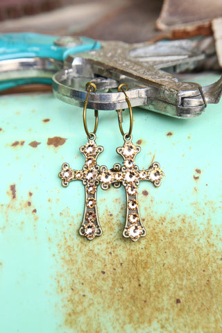 Pink Panache Bronze cross earrings with LIGHT COLORADO crystals. - Blessed and Beautiful Boutique