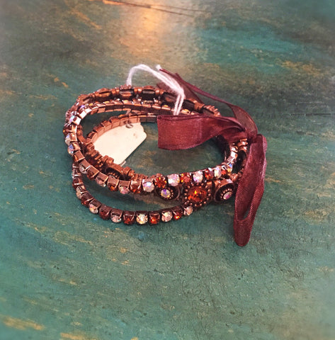 3pc Stretch Bracelet w/ribbon Bronze with iridescent crystals - Blessed and Beautiful Boutique