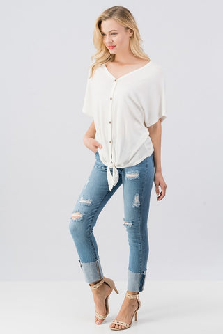 Ivory Button down top - Blessed and Beautiful Boutique