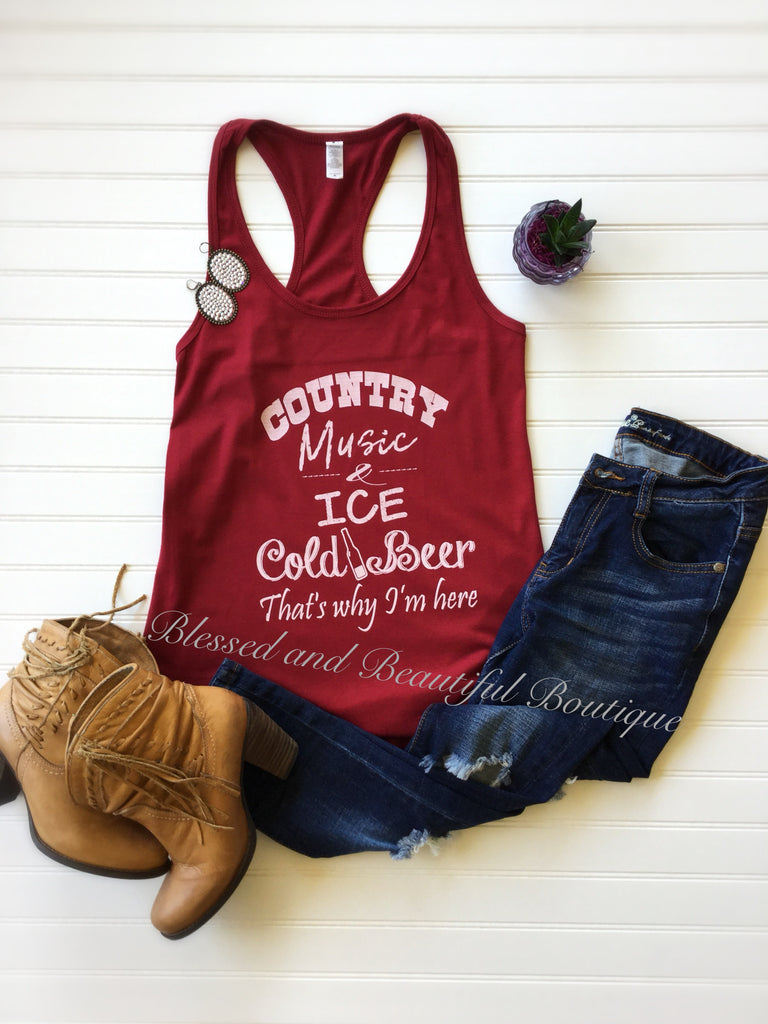Country Music and Ice Cold tank - Blessed and Beautiful Boutique