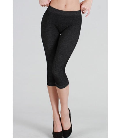 Black Two toned Capri Leggings - Blessed and Beautiful Boutique