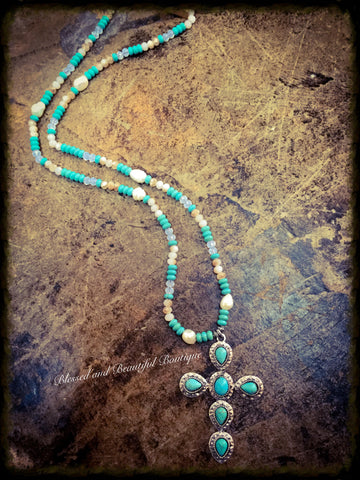 Turquoise Beaded Necklace with Cross - Blessed and Beautiful Boutique