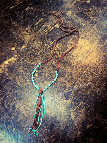 Turquoise Beaded Necklace with adjustable leather - Blessed and Beautiful Boutique