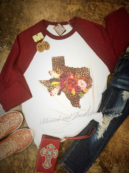 Texas in Leopard print with Floral detail - Blessed and Beautiful Boutique