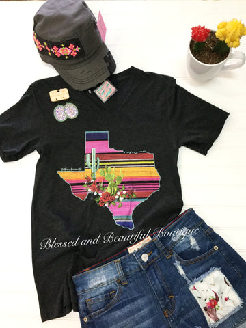 Texas serape V-Neck Tee - Blessed and Beautiful Boutique