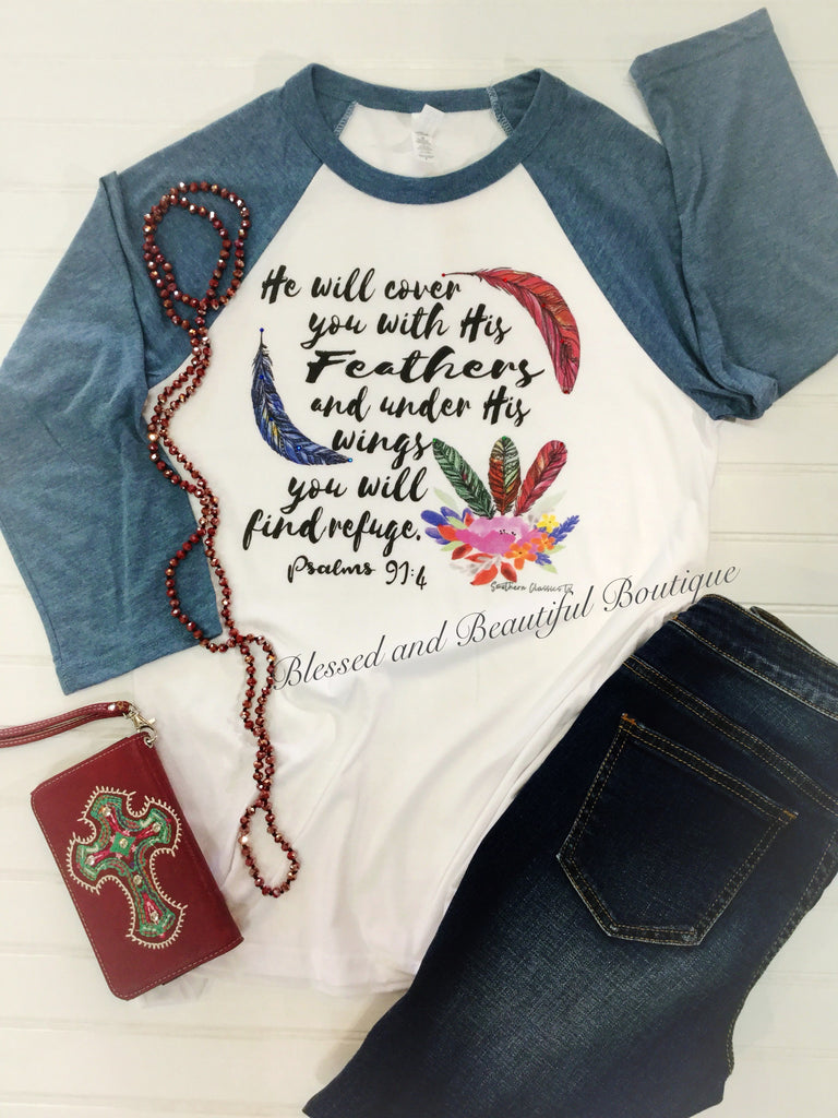 He will cover you with his feathers - Blessed and Beautiful Boutique