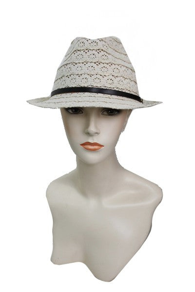 Creamy Lace Ferdora Hat - Blessed and Beautiful Boutique