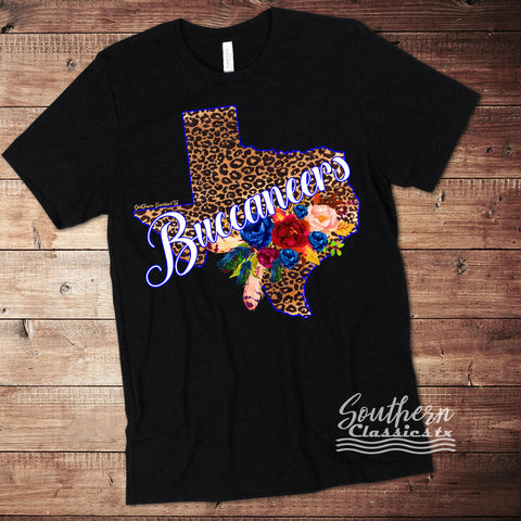 Customize it with your Mascot/Team Name - Leopard Texas Tee - Blessed and Beautiful Boutique