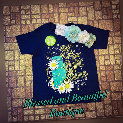 Let your Light Shine - Glow in the Dark Youth top - Blessed and Beautiful Boutique