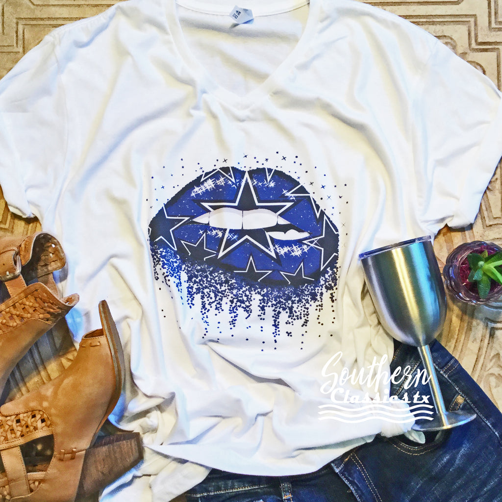 Dallas Cowboys Lip Tee - Blessed and Beautiful Boutique