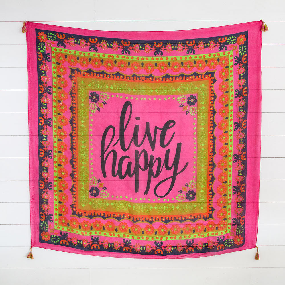 Silk Tapestry Scarf with Live Happy - Blessed and Beautiful Boutique