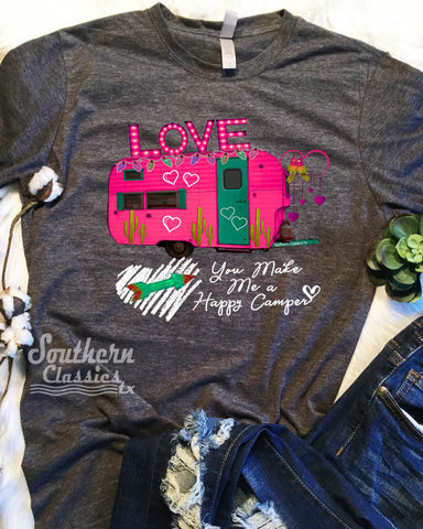 Happy Camper LOVE Pink Valentines tee shirt