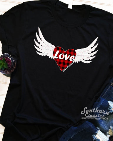 Love Wings Valentines Tee Shirt Buffalo Plaid Heart