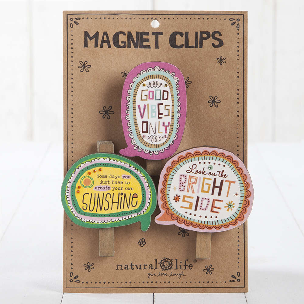"Magnet Clips Set of 3 ""Bright Side Sunshine"" - Blessed and Beautiful Boutique"