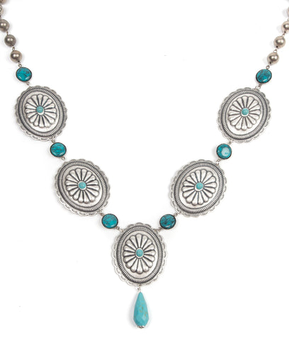 Pink Panache Antique silver scallop concho necklace with turquoise connectors on linked beads - Blessed and Beautiful Boutique