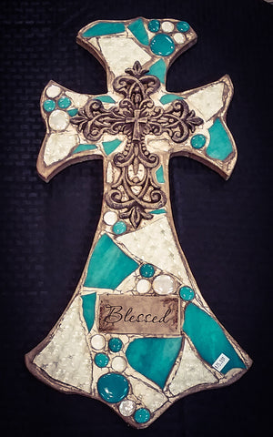 Big Turquiose Marble Blessed Cross - Blessed and Beautiful Boutique