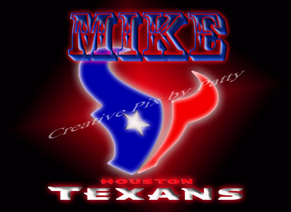 Personalized Houston Texans Print for a Man cave, Nursery Room, Home Decor, etc. - Blessed and Beautiful Boutique