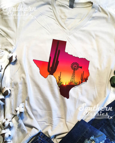 Texas Sunset Windmill Cactus tee