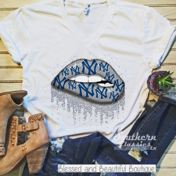 New York Yankee Lip Tee - Blessed and Beautiful Boutique