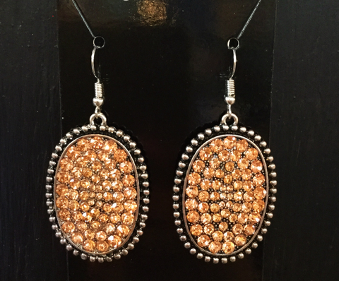 Medium oval silver/Bronze crystal earrings - Blessed and Beautiful Boutique