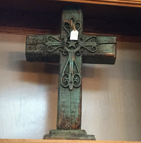 Large Rustic turquoise wooden cross - Blessed and Beautiful Boutique