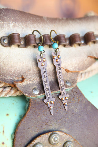 Pink Panache BRONZE Fearless stamped CRYSTALED arrow on TURQUOISE bead - Blessed and Beautiful Boutique