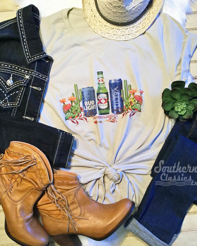 Beer Tee Shirt - michelob ultra dox xx and bud light shirt with cute Cactus Detail