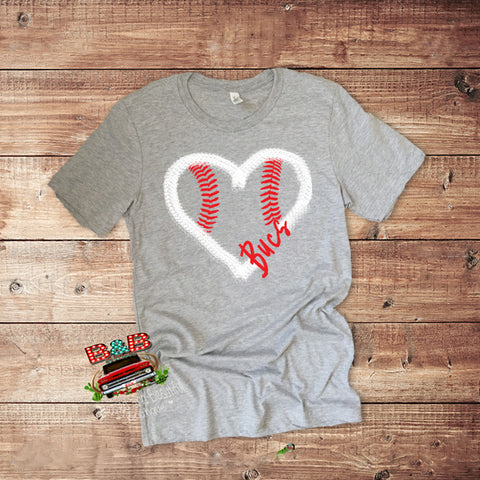 Baseball Heart Tshirt with Your Team Name - Blessed and Beautiful Boutique