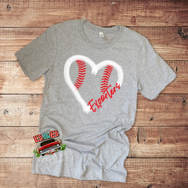 Baseball Heart T-shirt with Your Team Name - Blessed and Beautiful Boutique