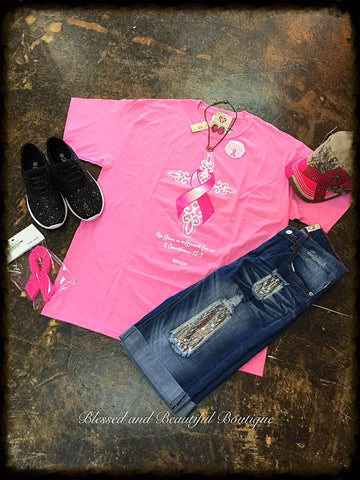 Breast Cancer Awareness Pink Tee with Shimmery design - Blessed and Beautiful Boutique