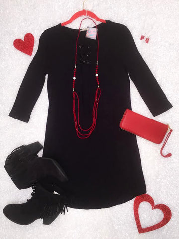 Black dress with Front Lace up - Blessed and Beautiful Boutique