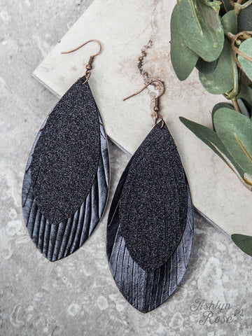 Large Glitter Feather Earrings, Black - Blessed and Beautiful Boutique