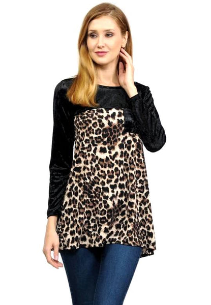 Leopard Print and Black Velvet Top - Blessed and Beautiful Boutique