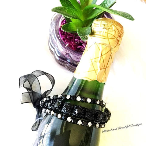 3pc Stretch Bracelet w/ribbon Black with iridescent crystals
