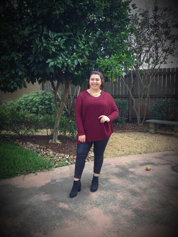 Burgundy Sweater - Blessed and Beautiful Boutique
