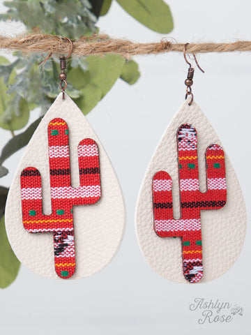 Red Serape Cactus Leather Teardrop Earrings - Blessed and Beautiful Boutique