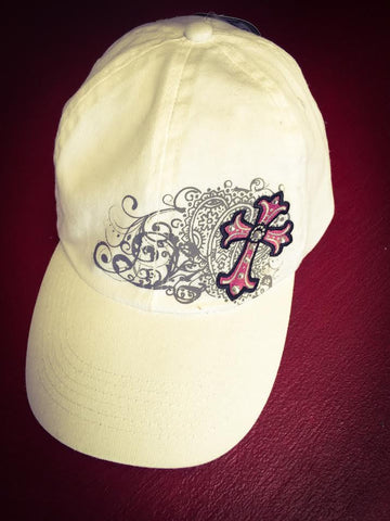 Kerusso White Cap with Embelished Pink Cross - Blessed and Beautiful Boutique