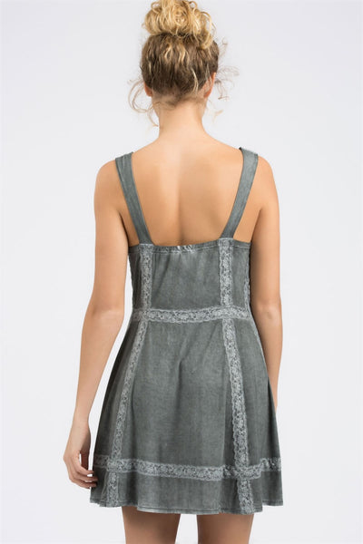 Charcoal mini dress with front lace up - Blessed and Beautiful Boutique